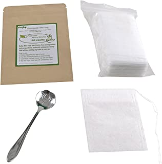 Tea Filter Bags, NUIBY Unbleached 100% Natural Empty Tea Bags for Loose Leaf Tea - Disposable Tea Infuser Bags - 1 Cup Capacity, 100 Counts with 1pc Stainless Steel Tea Spoon (2.4in x 3.2in)