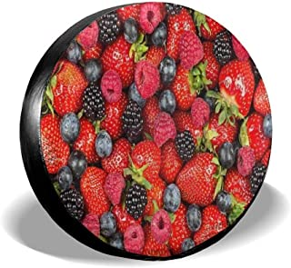 Spare Tire Cover Strawberries Summer Strawberry Polyester Water Proof Dust-Proof Universal Spare Wheel Tire Cover Fit for Jeep,Trailer SUV and Many Vehicle Rv