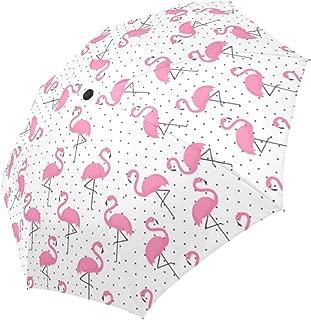 InterestPrint Pink Flamingo on Polka Dots Windproof Automatic Open And Close Folding Umbrella, Travel Lightweight Outdoor Umbrella Rain And Sun
