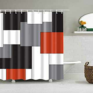 Boyouth Black,Grey,Red,White Geometry Pattern Digital Print Shower Curtain for Bathroom Decor,Polyester Waterproof Fabric Bath Curtain with 12 Hooks,70x70 Inches,Multicolor