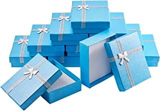 BENECREAT 12個セットギフトボックス リボン付ギフトボックス アクセサリー紙箱 アクセサリーギフト箱 ネックレス ブレスレット ジュエリーボックス プレゼント用 長方形 青色