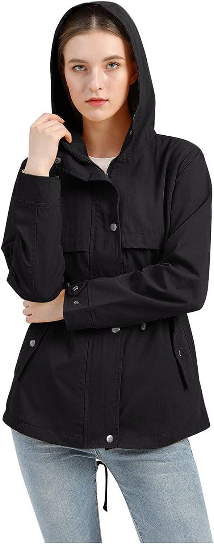 Goldweather Women Hooded Raincoat Quilted Lightweight Waterproof Long Rain Jacket Trench Coats Pockets Windbreaker Outwear
