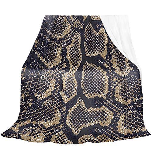 Naanle - Manta de piel de serpiente retro de terciopelo de franela para cama, transpirable, ligera, fina,...