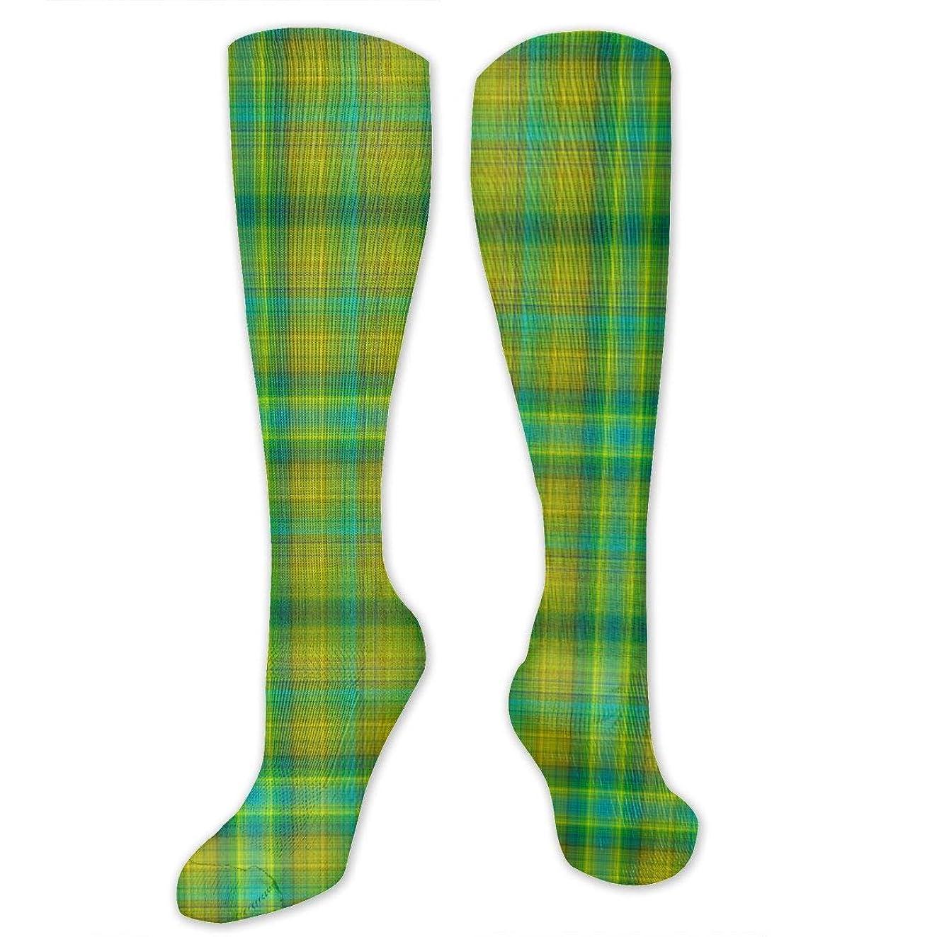 魔術師解体するターゲット靴下,ストッキング,野生のジョーカー,実際,秋の本質,冬必須,サマーウェア&RBXAA Green Spring Grass Large Plaid Tartan Socks Women's Winter Cotton Long Tube Socks Cotton Solid & Patterned Dress Socks