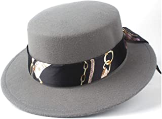 Pork Pie Hat Fedora Trilby Fashion Flat Top Hat Friend Party Hat Men Women Wool Trilby Hat Fedora Jazz Hat Size 56-58CM (Color : Gray, Size : 56-58)