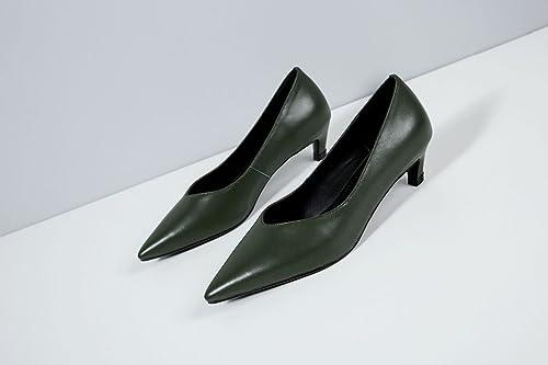 AJUNR Moda elegante Transpirable Sandalias schuhe de damen solo schuhe punta Liviano Delgado con un Grün oscuro 4cm con schuhe bajos