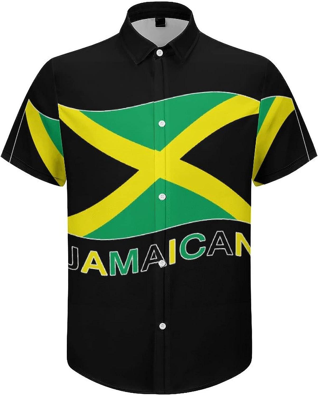 Hawaiian Shirts for Men Jamaican Flag Printed Beach Shirt Hawaiian Shirts