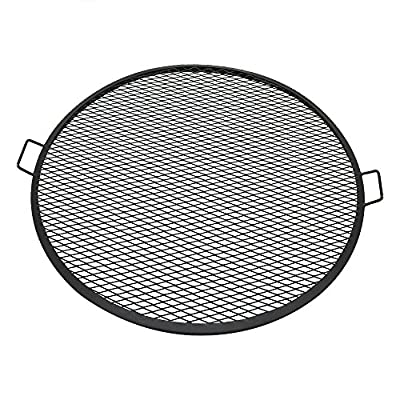 Sunnydaze X-Marks Fire Pit Cooking Grill Grate - Outdoor Round BBQ Campfire Grill - Heavy-Duty 3mm Thick Steel Construction - Camping Cookware - Black Cooking Rack - 36 Inch