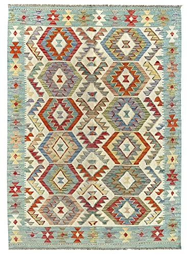 HAMID Alfombra Kilim Herat - 100% Lana Tejida a Mano - Alfombra étnica de salón, Dormitorio, Comedor (173x131cm)