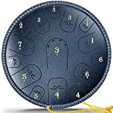 14 Inch 15 Note, Gimars Upgrade Alloy Steel Tongue Drum Relaxing Tune Hand Pan Drum with Travel Bag, Book, Mallets, Drumsticks for Adult Kids Decompression Yoga Meditation Mind Healing Gift