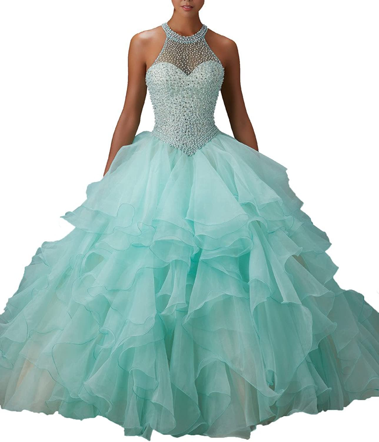 HSDJ Women's ONeck Beaded Hollow Back Sweet 15 Ball Gowns Quinceanera Dresses