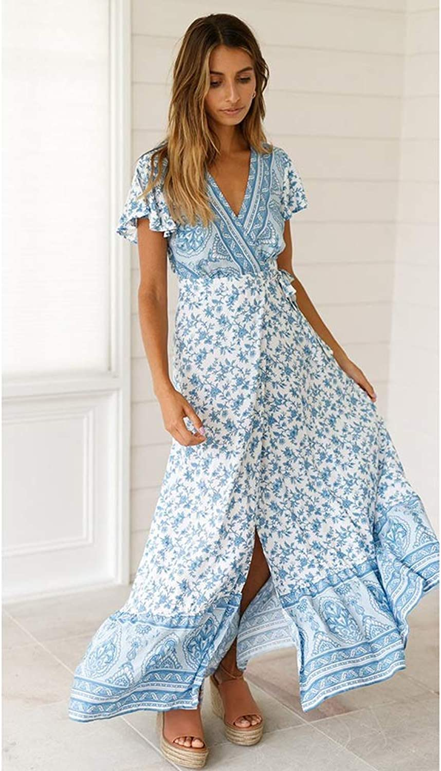 HuidiNET Sexy Vacation Holiday Dinner Women Dress Spring Summer Large Pendulum VNeck Bohemian Skirt Beach Holiday Tie Printing Polyester Mid Waist (color   bluee, Size   XL)