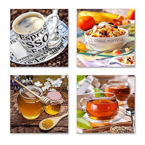 Küchen Bilder Set I schwebend, 4-TLG. Bilder-Set jedes Teil 29x29cm, Seidenmatte Optik auf Forex FineArt Print, UV-stabil, wasserfest, Deko für Büro, Wohnzimmer, Espresso Obst Honig Kaffeebohnen Tee