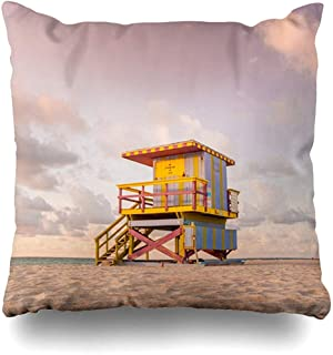 Throw Pillow Cover Square Cases 18x18 Rescue Blue America Lifeguard Tower South Beach Miami Parks Atlantic Bay Clouds Zippered Cushion Case Home Decor