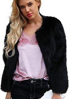 Moda Mujer Personalidad Ocasional ImitacióN Piel SóLido Color Gran Chaqueta De Solapa Invierno Abrigo De Felpa Abrigo Negro