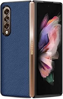 Flip Cover For Samsung Galaxy Z Fold 3 5G Case, Litchi Skin Business Flip Leather Shockproof Full Protective Case Cover Sl...