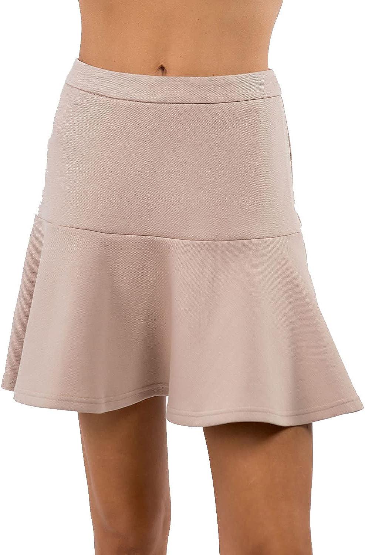 MIAMINE Women's Flared Short Skirt Solid Basic Casual High Waist Zipper Workout Running Skater Skirt