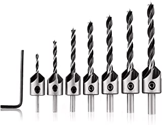 MOHOO Countersink Drill Bits, 7pcs Woodworking Countersink Drill Bits Set, Woodworking Chamfer High-Speed Steel Countersink Drill Bits for Woodworking 3 4 5 6 7 8 10mm With Hex Key