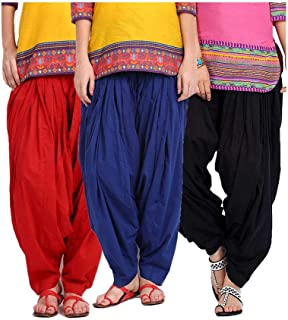 Fablab Women's Cotton Full Stitched Readymade Patiala Salwar(FreeSize) Combo pack of 3.
