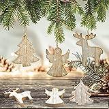 Logbuch-Verlag 24 (2 x 12) Weihnachten Holz BAUM ENGEL RENTIER Hirsch NATUR Deko Anhänger Holzanhänger Christbaumanhänger braun Baumschmuck - 3