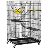 YAHEETECH Large 3-Tier Metal Wire Small Animal Cage Collapsible Pet Crate Enclosure Kennel on Wheels Indoor Outdoor 3 Ramp Ladders/1Hammock Black