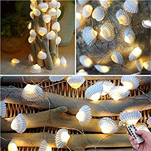 HDNICEZM Beach Seashell Decorative String Lights 14.1Ft 40 Warm White LED Waterproof Battery Operated Ocean String…