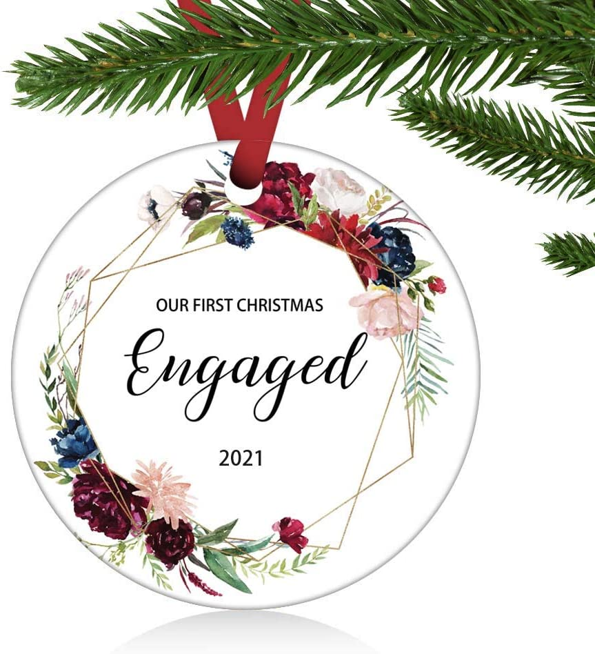 ZUNON First Christmas Engaged Ornaments 2021 Our First Christmas as Mr & Mrs Couple Married Wedding Decoration 3