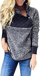 3XL Flannel Sweathirts for Women Winter Warm Fashion 2019 Patchwork Long Sleeve High Neck Button Tops Under 10 Dollars