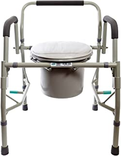 Healthline Deluxe 3 in 1 Bedside Commode, Toilet Safety Frame, Elevated Toilet Seat. Medical Steel Drop Arm Bedside Commode Chair Toilet Seat with Commode Bucket and Splash Guard, Padded Arms, Gray