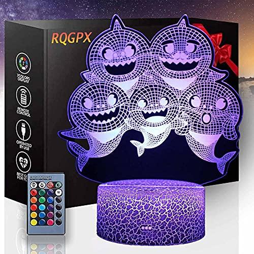 Lámpara de mesa LED con ilusión óptica 3D, diseño de tiburón a táctil, 16 colores con control táctil USB para decoración del hogar, regalo de cumpleaños de Navidad