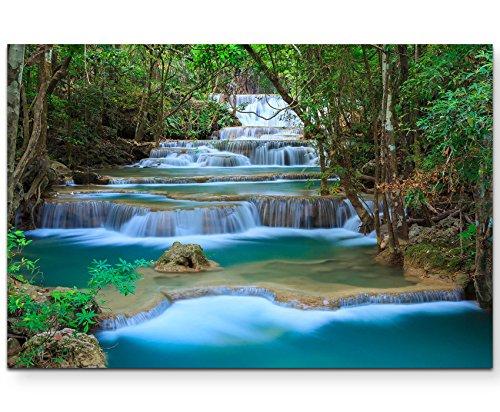 Paul Sinus Art Leinwandbilder | Bilder Leinwand 120x80cm Traumhafter Wasserfall im Wald – Thailand