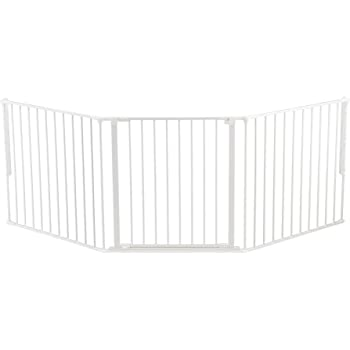 BabyDan Flex 35.4-87.8 Large Size Adjustable Metal Safety Baby Gate & Room Divider Fence for Children & Pets, White