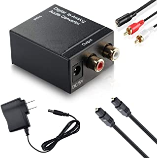 MKE Digital to Analog Audio Converter SPDIF Optical Coax to Analog RCA 2.1 Stereo Audio Converter Adapter