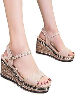 Amlaiworld Women Summer Sandals Open-Toe Suede High Heel Sandals Buckle Strap Wedge Shoes