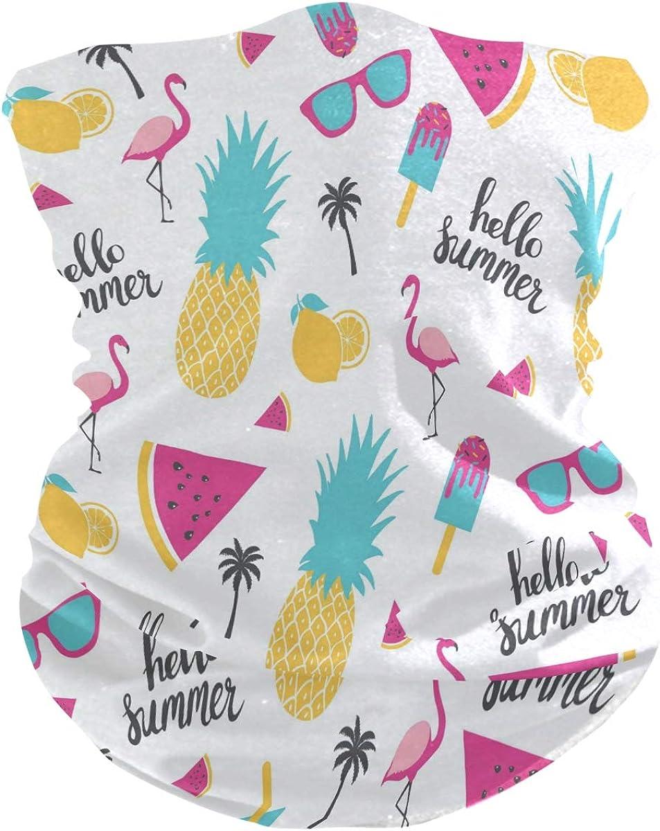ALAZA Summer Lemon Flamingo Bird Watermelon Headwear Magic Scarf Headband Bandana Neck Gaiters Outdoor Sports for Women Men