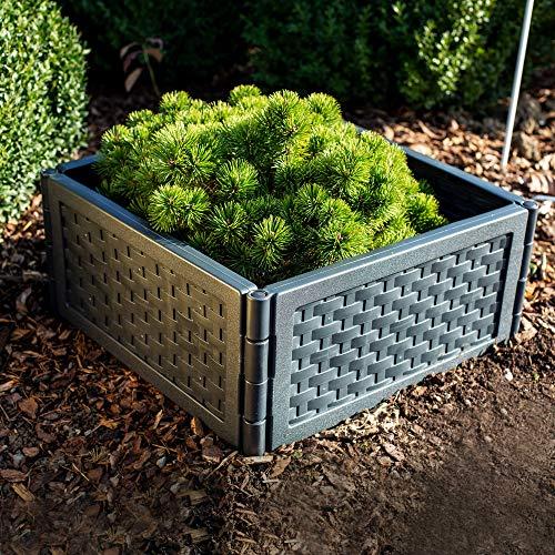 UPP Multifunktions Hochbeet Kunststoff Rattan flexibel & erweiterbar | Stecksystem für Garten & Balkon | Als Blumenkasten, Sandkasten o. Komposter nutzbar [4er Set, Anthrazit]