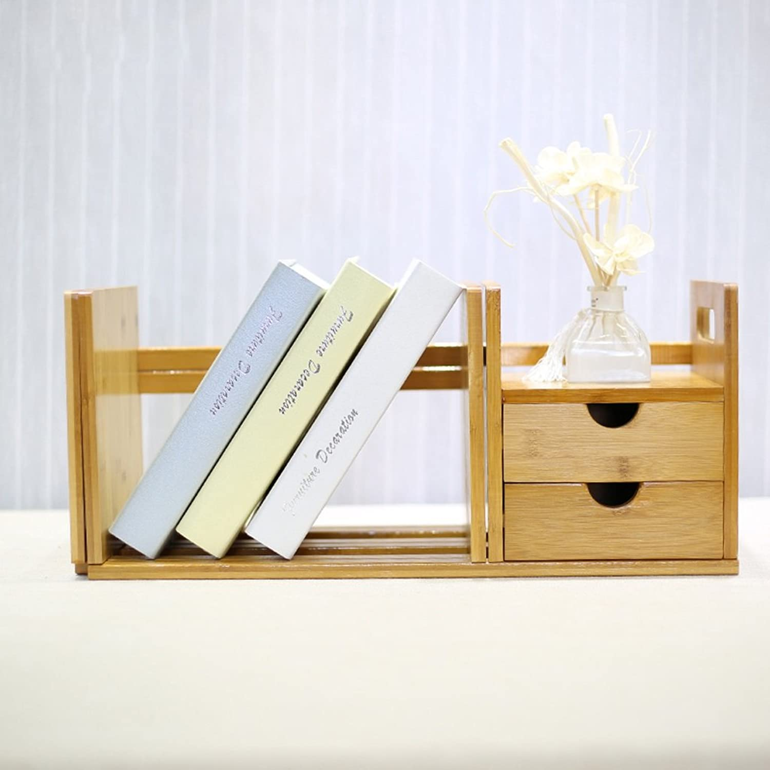 BJLWT Can Be Retractable Small Bookshelf On The Desk, Office Desk Simple Book Shelf Rack, 2 Drawers (Environmental Bamboo)