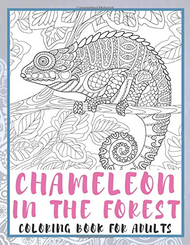Chameleon in the forest - Coloring Book for adults 🦎