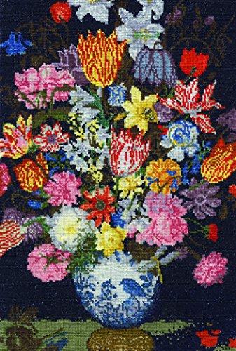 DMC National Gallery Bosschaert Een stilleven van bloemen in een Wan-Li Vaas Cross Stitch Kit, 100% Katoen, Diverse, 0.1 x 25 x 37 cm
