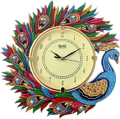 Ajanta Analog 33 cm X 33 cm Wall Clock (Blue, Yellow, Green, with Glass)