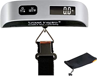 Travel Inspira Digital Luggage Scales with Overweight Alert White Backlight LCD Display 110LB / 50KG - Silver