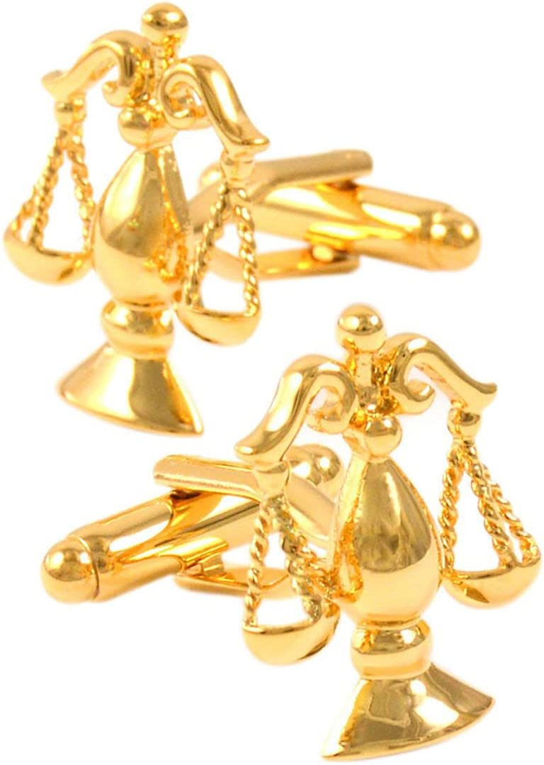 BO LAI DE Men's Cufflinks Golden Balance Logo Cuff Links Suitable for Business Events, Meetings, Dances, Weddings, Tuxedos, Formal Shirts, with Gift Boxes