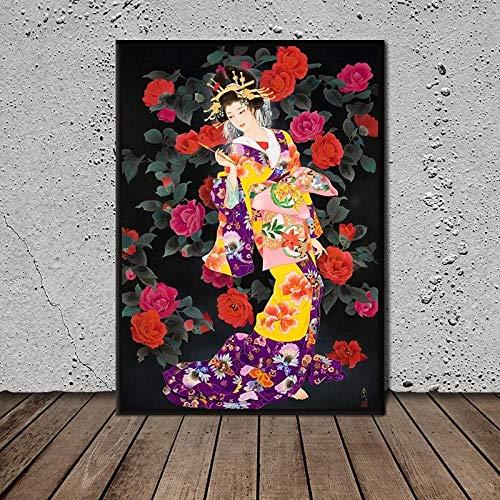 DHLHL Decoracin del hogar Disfraz japons Lienzo Flores Hermosas Impresiones Pinturas Cuadros Arte de la Pared pster Obra de Arte 50X70cm 20x28 Pulgadas sin Marco