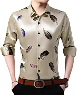 Abetteric Men's Fit Floral Printed Button Non-Iron Business Long Sleeve Shirts