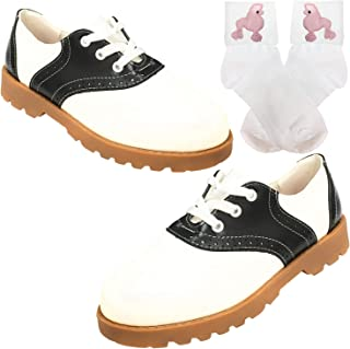 50s Saddle Oxford for Womens,Sadie Shoes & Bobby Sock W/Poodle Applique
