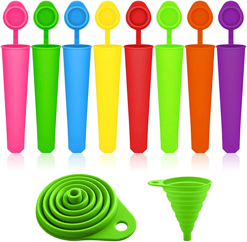 Popsicle Molds With Collapsible Funnel SENHAI 8 Packs Silicone Ice Pop Ice Cream Makers With Attached Lids Packed With 1 Green Foldable Funnel