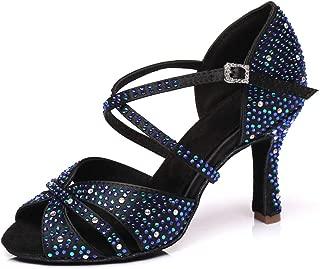 YKXLM Women's Professional Rhinestone Ballroom Wedding Dance Shoes Latin Salsa Performance Practice Dance Shoes,Model AUYCL382