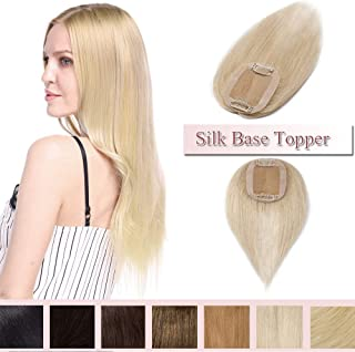 100% Real Human Hair Silk Base Top Hairpiece Clip in Hair Topper for Women Crown in Hand-made Toppee Middle Part with Thinning Hair Loss Hair #60 Platinum Blonde 6''15g