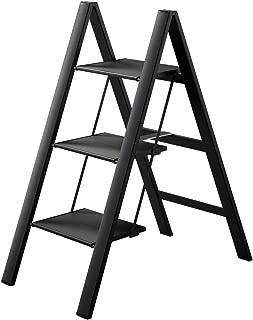 Hasegawa Ladders Slim Step Ladder, 3, Black