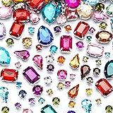 WILLBOND 260 Pezzi Gemme da Cucire di San Valentine Cristalli di Strass Diamante Acrilico con Foro a Punta d'Argento Artiglio Flatback di Colore Forma e Dimensione Misto per Borsa Scarpe Vestiti